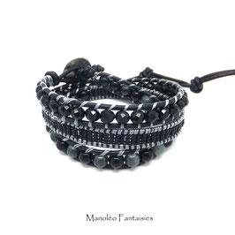 Bracelet wrap PRIAM 3 tours  dans les tons noir et gris