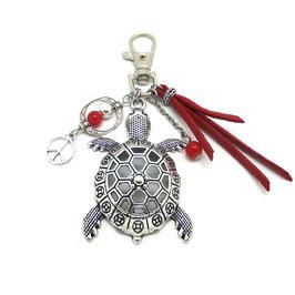 Bijou de sac ou porte-clés TORTUE rouge et argent