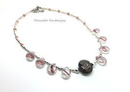 """Collier  """"perles de rosée"""" dans les tons rose et argentés..."""