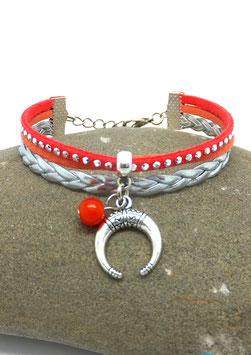 Bracelet LUNA mini manchette demi lune orange et argenté