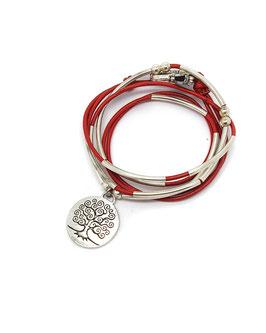 FAMILLE joli rouge - Bracelet en cuir arbre de vie