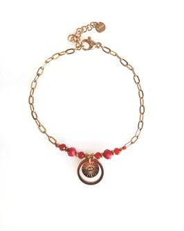 ROY rouge - bracelet doré