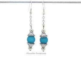 """Boucles d'oreilles """"Perla"""" et sa perle polaris turquoise..."""