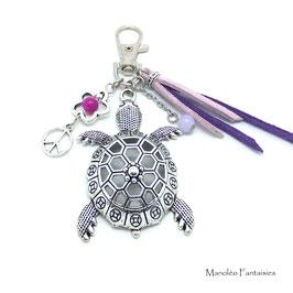 Bijou de sac ou porte-clés TORTUE violet