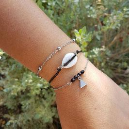 ADAM noir - Bracelets fins bohème et coquillage