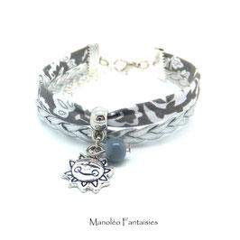Bracelet mini manchette SOLEIL dans les tons de gris et argenté...