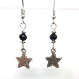 ORION noir - boucles d'oreilles étoiles et perles -50%