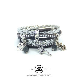 Bracelet FÉE manchette 2 tours, ses perles et pampilles, dans les tons gris et argenté...