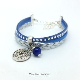 Bracelet manchette PIECE CHINOISE dans les tons bleus et argentés..