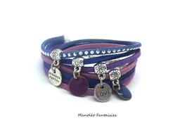 Bracelet LOEVA double tour, 4 liens suédine, dans les tons violets, bleus et argenté...