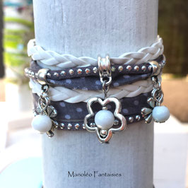 Bracelet POIS double tour, ses perles et pampilles, dans les tons gris, blanc et argenté...