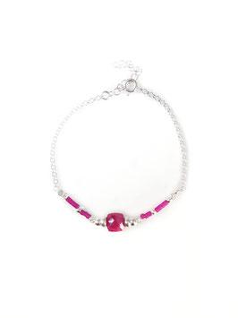 Bracelet argent AARON sillimanite rouge