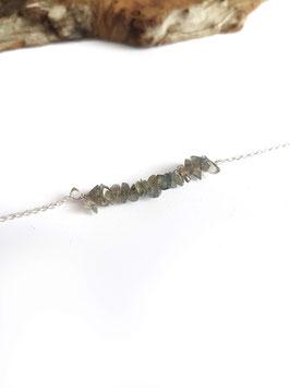 LABRA - Bracelet en argent perles labradorite