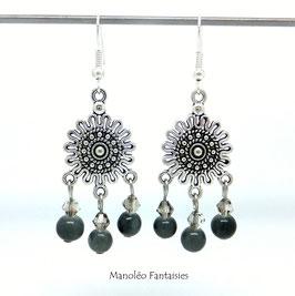 Boucles d'oreilles NOURIA et ses perles dans les tons de gris...