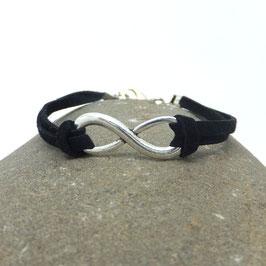 Bracelet INFINI noir et argenté.