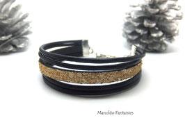 Bracelet SOHAÏL en cuir noir et effet sable beige...