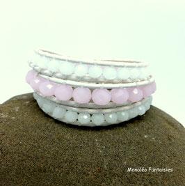 Bracelet wrap LAOUGA blanc et rose poudré