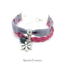 Bracelet mini manchette FLEUR fuchsia et gris