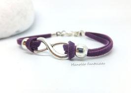 """Incontournable bracelet """"infini"""" violet et argenté"""