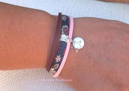 Bracelet 3 liens sequin étoilé rose et bordeaux.