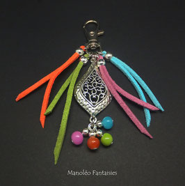 Bijou de sac ou porte-clés COULEURS dans les tons de turquoise, vert, rose, orange et argenté...