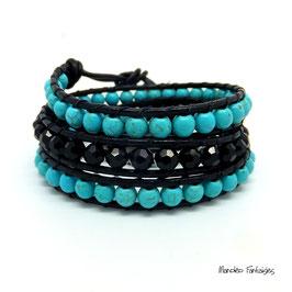 Bracelet wrap LAGUNE turquoise et  noir