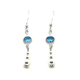 KELSO bleu - boucles d'oreilles perles et strass