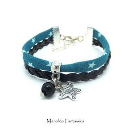 Bracelet manchette ETOILE dans les tons turquoise, noir et argenté...