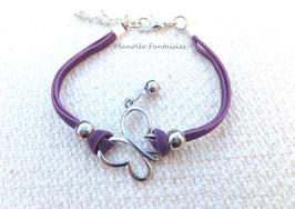 """Bracelet """"papillon vole..."""" violet et argenté..."""