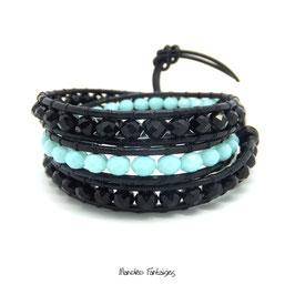 Bracelet wrap SALIE noir et turquoise
