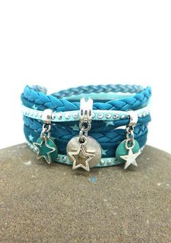 Bracelet ETOILES manchette deux tours turquoise et argenté