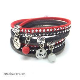 Bracelet LOEVA double tour, 4 liens suédine, dans les tons corail, gris et argenté...