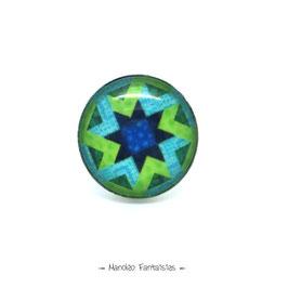 Bague ETOILE cabochon 25 mm bleu vert