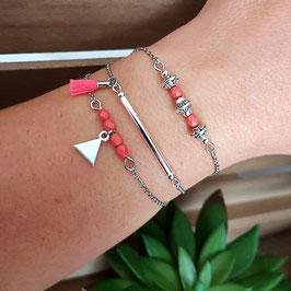 MAEL - Bracelets fins bohème corail