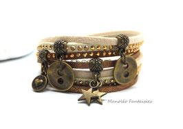 Bracelet LOEVA double tour, 4 liens suédine, dans les tons marron, beige et bronze...