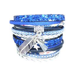 PLUME bleu- Bracelet manchette liberty et strass multitours