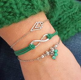 ETHAN vert - trio bracelets fins bohème -30%