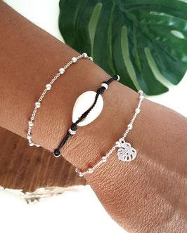 TRIO de bracelets en argent Théo, Cauri et Monstéra