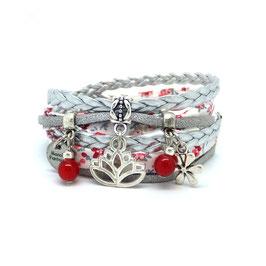 Bracelet LIBERTY double tour, LOTUS, ses perles et pampilles, dans les tons rouges et argentés...