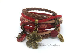 Bracelet FLORA double tour, pampilles, sequin, liens, dans les tons café, rouge et bronze...