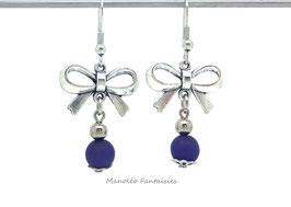 Boucles d'oreilles nœud et perles polaris violettes...