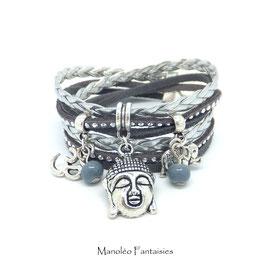 Bracelet BOUDDHA manchette 2 tours, ses perles et pampilles, dans les tons gris et argenté...