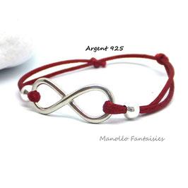 Bracelet INFINI en ARGENT et ses perles sur cordon rouge.