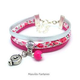 Bracelet liberty PAMPILLE tourbillon, cuir et suédine dans les tons fuchsias et argentés...