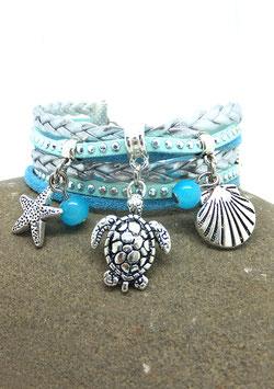 Bracelet HAWAII manchette 2 tours, tortue, coquillage, étoile de mer, perles dans les tons turquoise et argenté