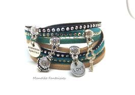 Bracelet LOEVA double tour, 4 liens suédine, dans les tons beige, vert, noir et argenté...