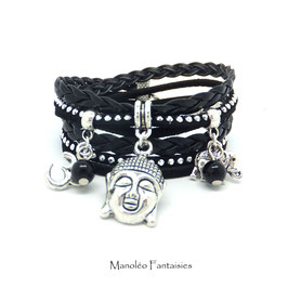 Bracelet BOUDDHA manchette 2 tours, ses perles et pampilles, dans les tons noir et argenté...