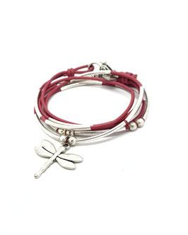DRAGONFLY rose framboise ♥  Bracelet en cuir libellule