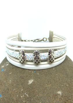 Bracelet ANANAS blanc en cuir et paillettes