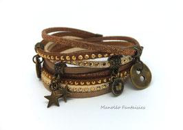 Bracelet LOEVA double tour, 4 liens suédine, dans les tons marrons et bronze...